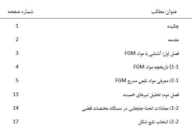 فهرست 1 تحلیل تیر خمیده FGM